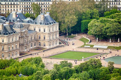 Panoramic view on Luxembourg Gardens from Montparnasse Tower. Paris. France, Europe Stock Photo