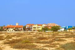 Panorama view luxury houses beach, Santa Maria, Cape Verde Islands. Panoramic view of luxury beach houses along the Atlantic Ocean in the city of Santa Maria stock photo