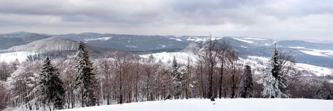 Panoramic View of Luzicke Mountains in The Czech Republic in Winter Royalty Free Stock Photography