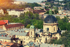 Panoramic view of Lviv city Stock Photo