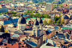 Panoramic view of Lviv city Royalty Free Stock Photos