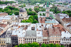 Panoramic view of Lviv from Lviv city hall Stock Images