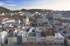 Panoramic view of Lviv stock photo