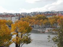 Panoramic view of Lyon, autumn, France stock image