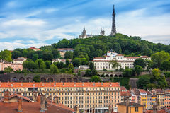 The panoramic view at Lyon on Basilique de Fourviere hill. Lyon. Stock Image