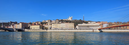 Panoramic view of Lyon city with blue sky Stock Images