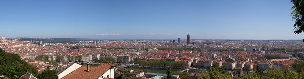 Panoramic View of Lyon from Fourviere Hill Stock Photos