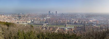Panoramic view of Lyon from Fourviere hill near Basilica of Notre-Dame de Fourviere, Lyon, France. Royalty Free Stock Image