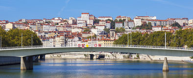 Panoramic view on Lyon and Saone rive Royalty Free Stock Images