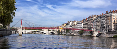 Panoramic view of Lyon with Saone river Stock Photos