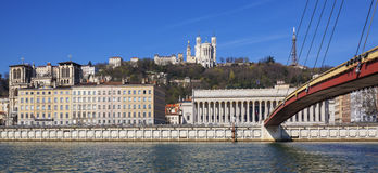 Panoramic view of Lyon and Saone River Royalty Free Stock Photography