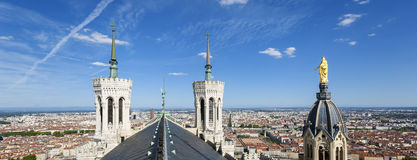 Panoramic view of Lyon from the top of Notre Dame de Fourviere Stock Images