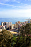 Panoramic view of Málaga with the Malagueta bullring, Andalusia, Spain stock photos