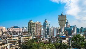 Panoramic view of Macau downtown Royalty Free Stock Photography