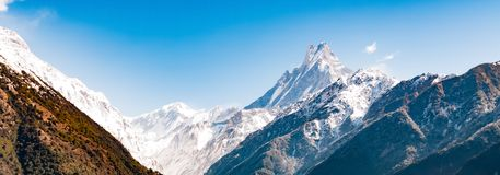 Panoramic view of Machapuchare Peak. Nepal mountain landscape. Annapurna circuit, Himalaya, Asia.  stock photos