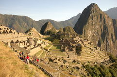 Panoramic view of Machu Picchu Stock Photo