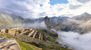 Panoramic View of Machu Picchu Inca Ruins - Sacred Valley, Peru Stock Image