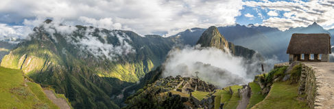 Panoramic View of Machu Picchu Inca Ruins - Sacred Valley, Peru Royalty Free Stock Photography