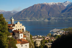 Panoramic view of Madonna del Sasso and lake Maggiore at Locarno Stock Photography