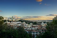 Panoramic View of Madrid cityscape. Royal Palace and Almundena Cathedral Royalty Free Stock Image