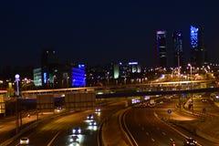 Panoramic view of Madrid`s financial center, Cuatro Torres stock photos