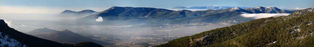 Panoramic view from Madrid Sierra Stock Photography