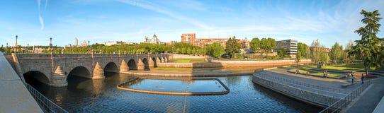 Panoramic view. Madrid Skyline with the Segovia Bridge Royalty Free Stock Photos