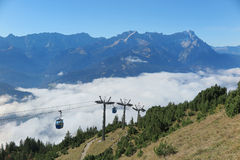 Panoramic view of magnificent Mountain Zugspitze from top of Mount Wank in Garmisch Partenkirchen Stock Image