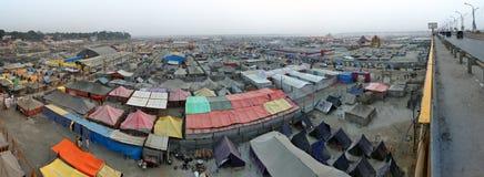 Panoramic  view of Maha Kumbh Mela festival camp Stock Photos