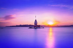 Panoramic view of Maiden's tower from shore during sunset, Istanbul, Turkey Royalty Free Stock Photos