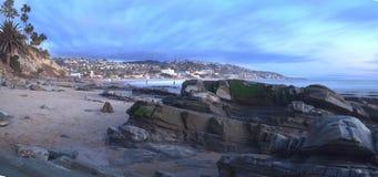 Panoramic view of Main beach in Laguna Beach royalty free stock images