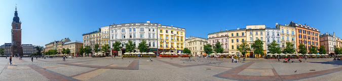 Panoramic view of Main Market Square also known as The Cloth Hall in Krakow, Poland Stock Image