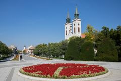 Look from The County Hall building in Sombor. Panoramic view of the main pedestrian street and Carmelite church in Sombor, the city in the northern Serbia stock photography
