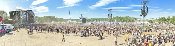 Panoramic view of main stage of the 21th Woodstock Festival Poland. Stock Photo