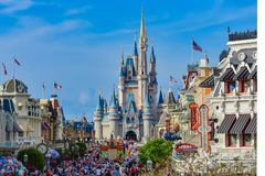 Panoramic view of Main Street and Cinderella`s in Magic Kingdom castle at Walt Disney World  1 royalty free stock image