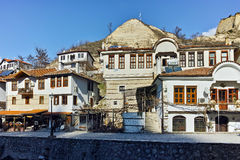Panoramic view of Main street in town of Melnik, Bulgaria Royalty Free Stock Photography