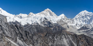 Panoramic view of Makalu mountain Royalty Free Stock Photos