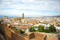 Panoramic view of Malaga with the Cathedral, Andalusia, Spain Stock Photography