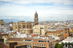 Panoramic view of Malaga with the Cathedral, Andalusia, Spain Royalty Free Stock Photos