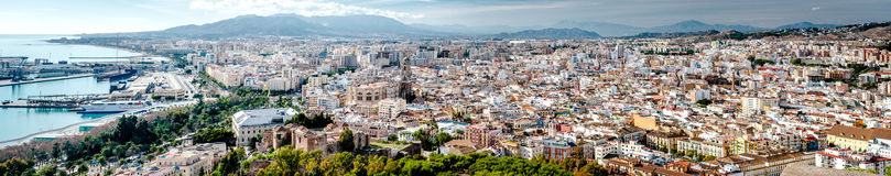 Panoramic view of Malaga city Stock Photography