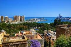 Panoramic view of Malaga, La Alcazaba, Histiric Building, Malaga, Spain Stock Image