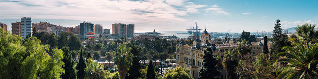 Panoramic view of Malaga seaport Stock Images