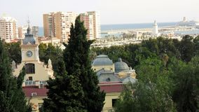 Panoramic view of Malaga-tower of town hall Royalty Free Stock Photos