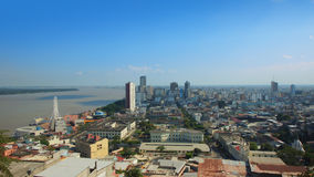 Panoramic view of the Malecon 2000 and downtown from the neighborhood Las Penas. Guayaquil, Guayas / Ecuador - September 4 2016: Panoramic view of the Malecon Royalty Free Stock Photo