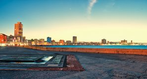 Panoramic view of malecon in havana at night. Panoramic view of malecon in havana, cuba at night Stock Image