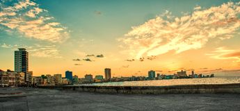 Panoramic view of malecon in havana at sunset. Panoramic view of malecon in havana, cuba at sunset Stock Photos