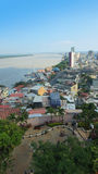 Panoramic view of the Malecon 2000 from the neighborhood Las Penas. This is a project of urban regeneration of the old Malecon Sim. Guayaquil, Guayas / Ecuador Stock Photo