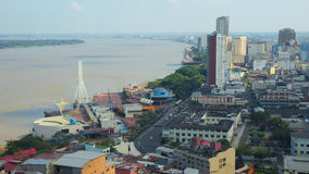 Panoramic view of the Malecon 2000 from the neighborhood Las Penas. This is a project of urban regeneration of the old Malecon Simon Bolivar Stock Photos