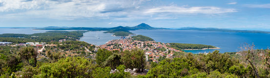 Panoramic view of Mali Losinj and adriatic. In Croatia Stock Image