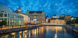 Panoramic view of Malmo skyline from canal. In the evening, Sweden Royalty Free Stock Photography